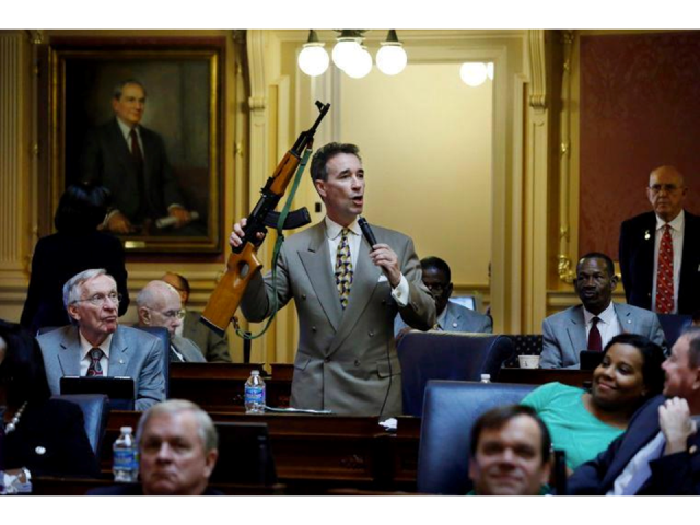Del. Joe Morrissey with a gun
