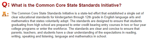 What is the Common Core Standards Initiative