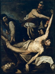 The Martyrdom of Saint Bartholomew (from here)  Historical Accounts Differ, but tradition says Bartholomew met his death by being flayed or skinned alive, and then beheaded.