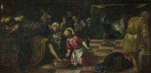 Christ washing the Feet of the Disciples by  Tintoretto (1518–1594)
