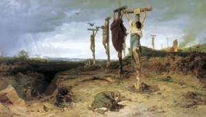 Crassus crucified 6,000 of Spartacus's followers on the road between Rome and Capua. 1878 painting by Fedor Andreevich Bronnikov