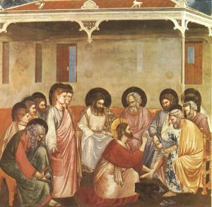 Christ Reasoning with Peter as he washes his feet, by Giotto di Bondone (Scrovegni Chapel), c. 1304–1306