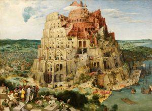 Building the Tower of Babel was, for Dante, an example of pride. Painting by Pieter Brueghel the Elder (from here)