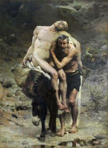 The Good Samaritan by Aimé Morot (1880) shows the Good Samaritan taking the injured man to the inn. (from here)