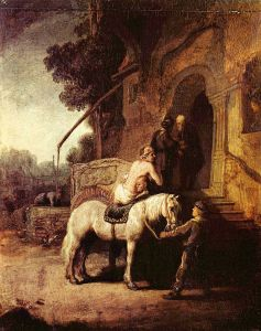 The Good Samaritan by Rembrandt (1630) shows the Good Samaritan making arrangements with the innkeeper. A later (1633) print by Rembrandt has a reversed and somewhat expanded version of the scene. (from here)