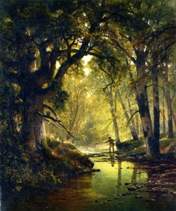 Angler in a Forest Interior; Artist: Thomas Hill (1874)