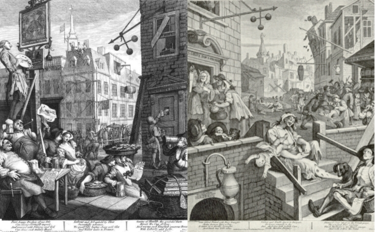 Beer Street and Gin Lane (1751)  The Wikipedia article at this link contains explanations of both pictures and versions that can be expanded to show the true detail.