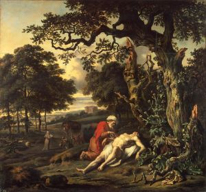 The Parable of the Good Samaritan by Jan Wijnants (1670) shows the Good Samaritan tending the injured man. (from here)