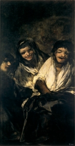 Goya's Man Mocked by Two Women (Dos Mujeres y un hombre), c. 1820. (from here)