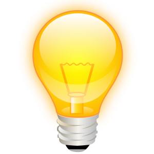 A picture of a lightbulb is often used to represent a person having a bright idea.