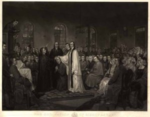 The Ordination of Bishop Asbury, and the Organization of the Methodist Episcopal Church. Engraving by A. Gilchrist Campbell, 1882, after a painting by Thomas Coke Ruckle. Manuscript Division, Library of Congress. Gift of the Lovely Lane Museum, Baltimore (99) (from here)