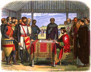 King John signs the Magna Carta. Got this from here. Doyle, James William Edmund (1864)