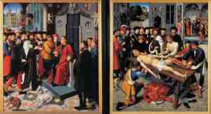 These paintings by Gerard David (c. 1460 – 13 August 1523) depict the arrest and flaying by a corrupt judge. Cambyses, a Persian King sentence this judge, Sisamnes, for accepting a bribe.  Then he used the skin to cover the seat Sisamnes' son used when he sat as a judge. (from here)