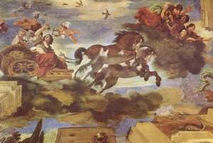 Aurora, by Guercino, 1621-23: the ceiling fresco in the Casino Ludovisi, Rome, is a classic example of Baroque illusionistic painting (from here)
