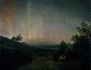 Landscape with Northern Lights - Attempt to Paint the Aurora Borealis, 1790s, by Jens Juel. (from here)