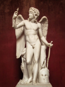 Classical statue of Cupid with his bow (from here)