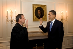 President Barack Obama being administered the oath of office by Chief Justice John Roberts for the second time, on January 21, 2009.