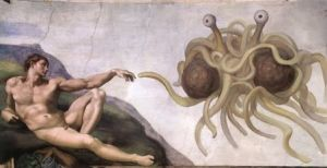Touched by His Noodly Appendage, a parody of Michelangelo's The Creation of Adam, is an iconic image of the Flying Spaghetti Monster[1] by Arne Niklas Jansson.