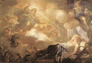 Luca Giordano – Dream of Solomon – God promises Solomon Wisdom. (from here)