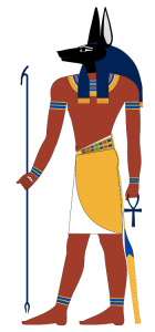 The Egyptian god Anubis (a modern rendition inspired by New Kingdom tomb paintings) (from here)