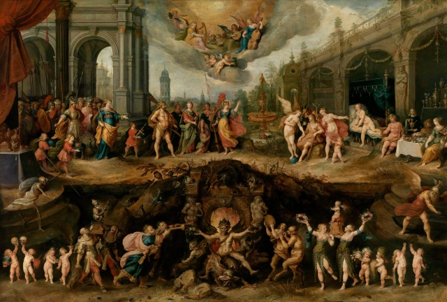 Mankind's Eternal Dilemma: The Choice Between Virtue and Vice by Frans Francken the Younger depicts three choices: heaven, earth, and hell (from here)