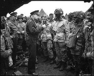 D-Day: GEN Eisenhower Supreme Allied Commander U.S. Army Gen. Dwight D. Eisenhower speaks with 101st Airborne Division paratroopers before they board airplanes and gliders to take part in a parachute assault into Normandy as part of the Allied Invasion of Europe, D-Day... (from here)