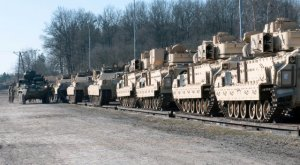 Strykers teams with the 3rd Squadron, 2nd Cavalry Regment prepare 1st Armor Brigade Combat Team, 3rd Infantry Division armored vehicles for offloading March 18, 2015 in Poland. (from here)