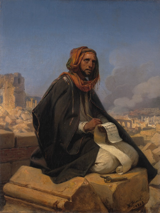 Horace Vernet, Jeremiah on the ruins of Jerusalem (1844) (from here)