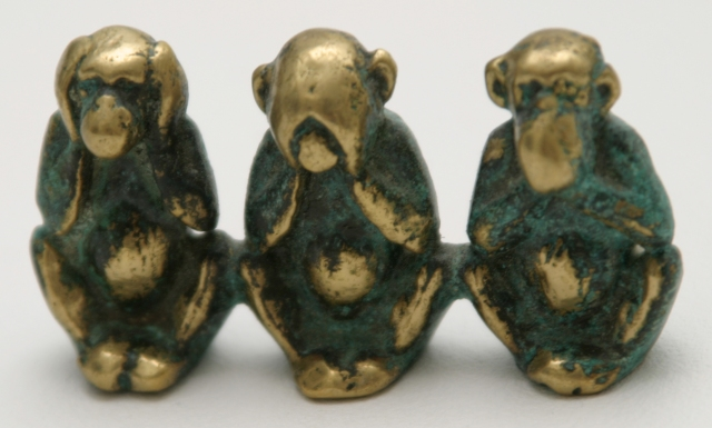 Three wise monkeys, invoking a proverb, with no text.