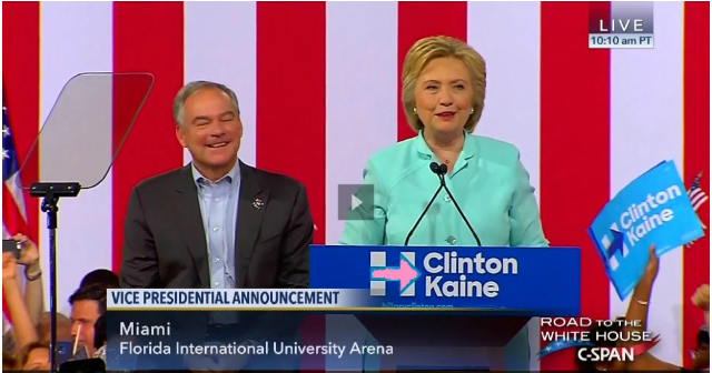 Hillary Clinton announces her VP pick (from here)