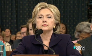 Clinton testifying before the House Select Committee on Benghazi on October 22, 2015 (from here)