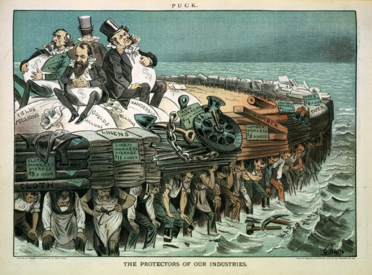 """The protectors of our industries"". Cartoon showing Cyrus Field, Jay Gould, Cornelius Vanderbilt, and Russell Sage, seated on bags of ""millions"", on large heavy raft being carried by workers. (from here)"
