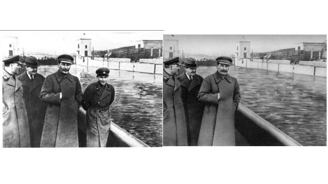 Nikolai Yezhov, standing to the left of Joseph Stalin, was shot in 1940. He was edited out of the photo by Soviet censors after his execution as a form of damnatio memoriae.[9] This policy was commonly applied to high-ranking executed political enemies during Stalin's reign. (from here)