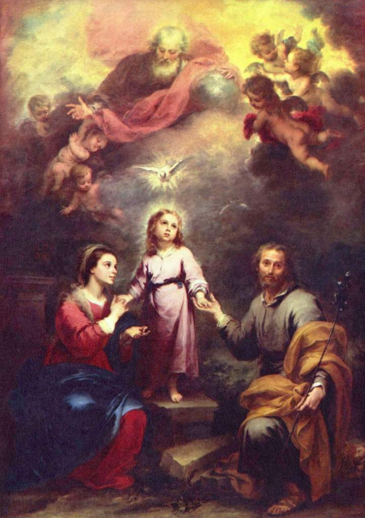 The Holy Spirit depicted as a dove descending on the Holy Family, with God the Father and angels shown atop, by Murillo, c. 1677. (from here)