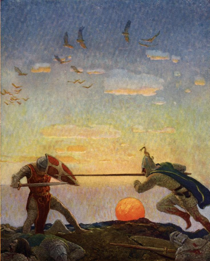 "Conflict in narrative comes in many forms. ""Man versus man"", such as is depicted here in the battle between King Arthur and Mordred, is particularly common in traditional literature, fairy tales and myths. (from here)"