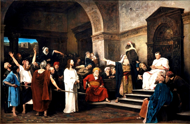 Christ before Pilate, Mihály Munkácsy, 1881 (from here)