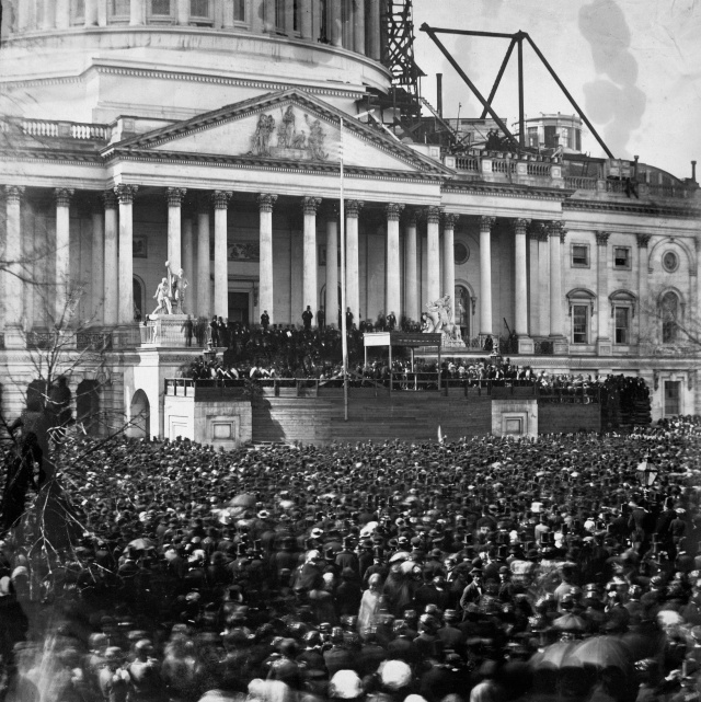Lincoln swearing-in at the partially finished U.S. Capitol. (from here)