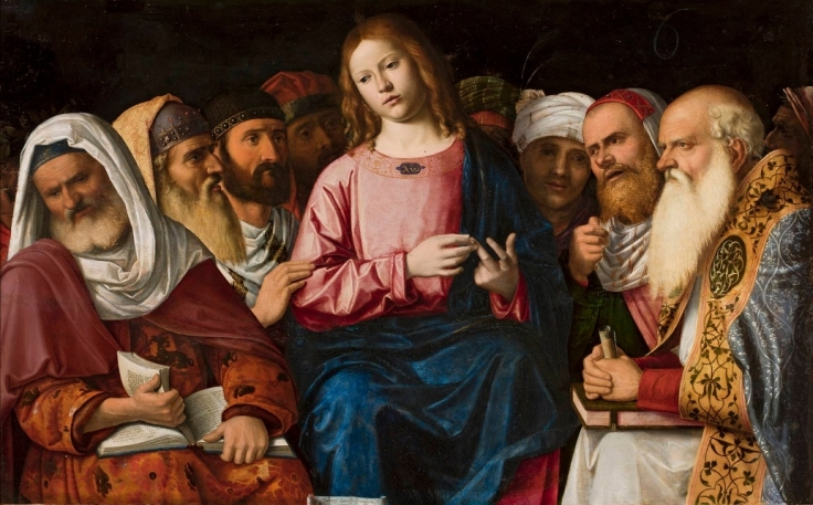 Christ among the doctors by Cima da Conegliano, 1504. (from here)