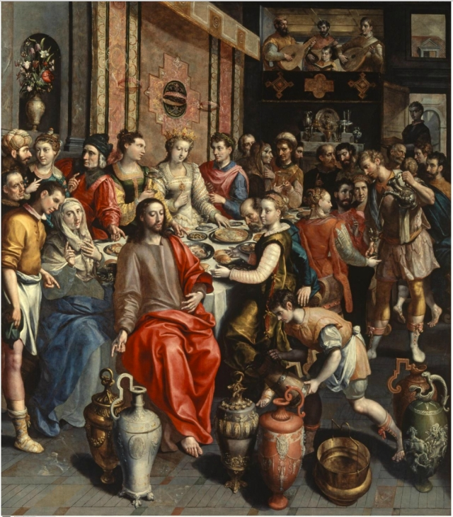 The Marriage at Cana by Maerten de Vos, c. 1596 (from here)