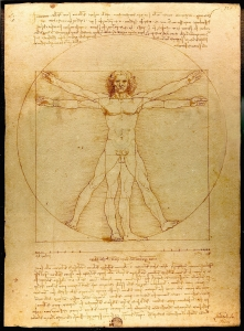 The Vitruvian Man (c. 1485) Accademia, Venice (from here)